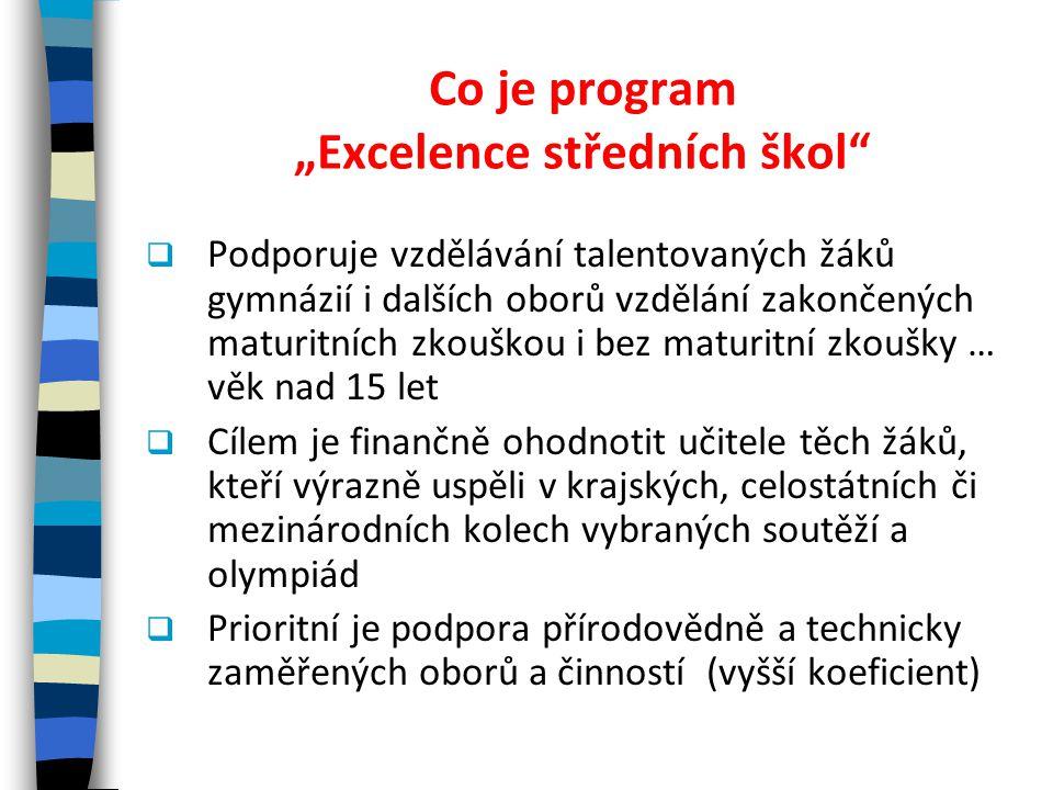 """Co je program """"Excelence středních škol""""  Podporuje vzdělávání talentovaných žáků gymnázií i dalších oborů vzdělání zakončených maturitních zkouškou"""
