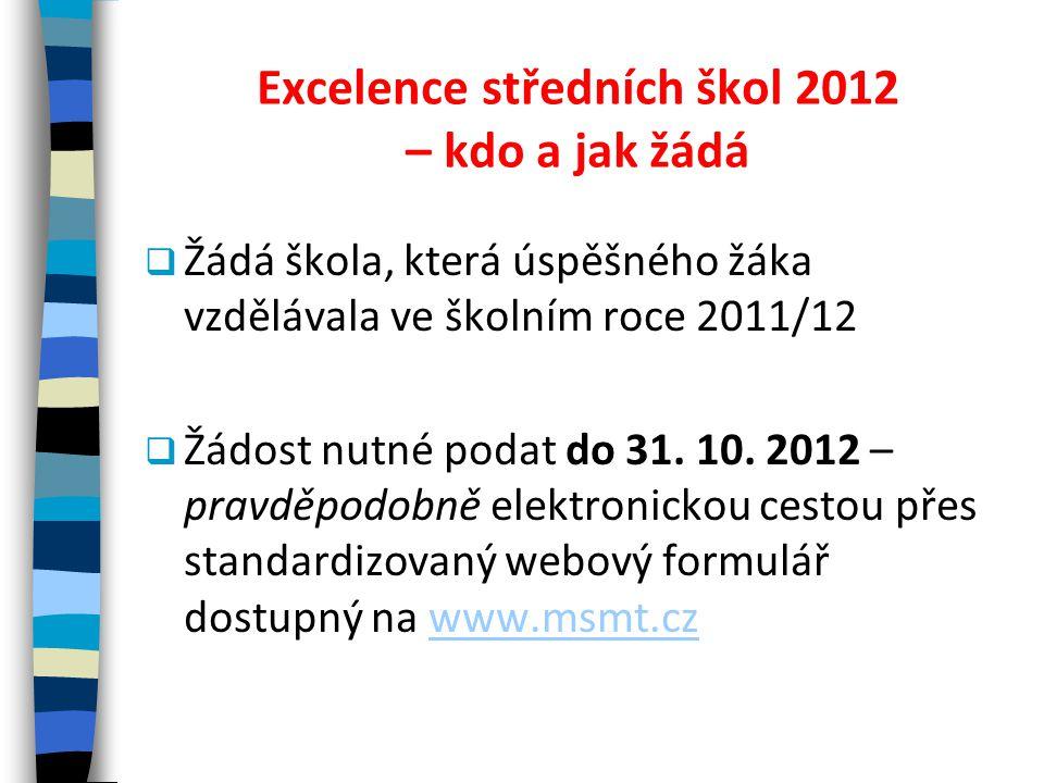 Excelence středních škol 2012 – kdo a jak žádá  Žádá škola, která úspěšného žáka vzdělávala ve školním roce 2011/12  Žádost nutné podat do 31. 10. 2