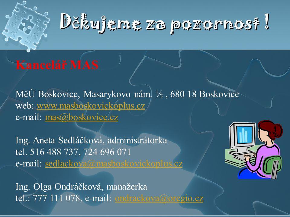 D ě kujeme za pozornost ! Kancelář MAS MěÚ Boskovice, Masarykovo nám. ½, 680 18 Boskovice web: www.masboskovickoplus.czwww.masboskovickoplus.cz e-mail