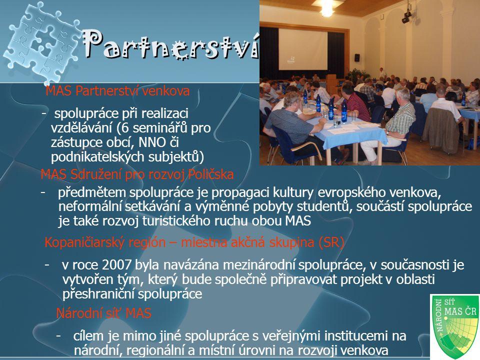 Partnerství MAS Partnerství venkova - spolupráce při realizaci vzdělávání (6 seminářů pro zástupce obcí, NNO či podnikatelských subjektů) MAS Sdružení