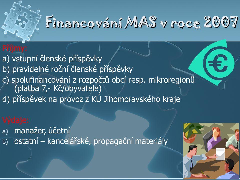 Financování MAS v roce 2007 Příjmy: a) vstupní členské příspěvky b) pravidelné roční členské příspěvky c) spolufinancování z rozpočtů obcí resp. mikro