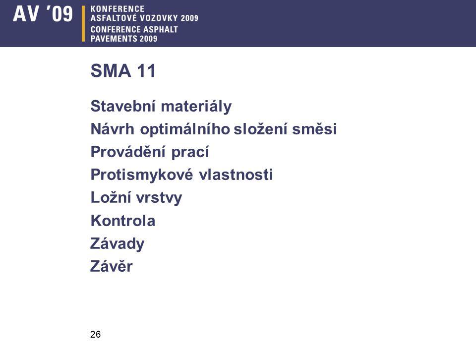 26 SMA 11 Stavební materiály Návrh optimálního složení směsi Provádění prací Protismykové vlastnosti Ložní vrstvy Kontrola Závady Závěr