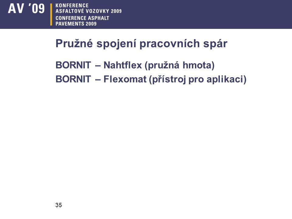 35 Pružné spojení pracovních spár BORNIT – Nahtflex (pružná hmota) BORNIT – Flexomat (přístroj pro aplikaci)