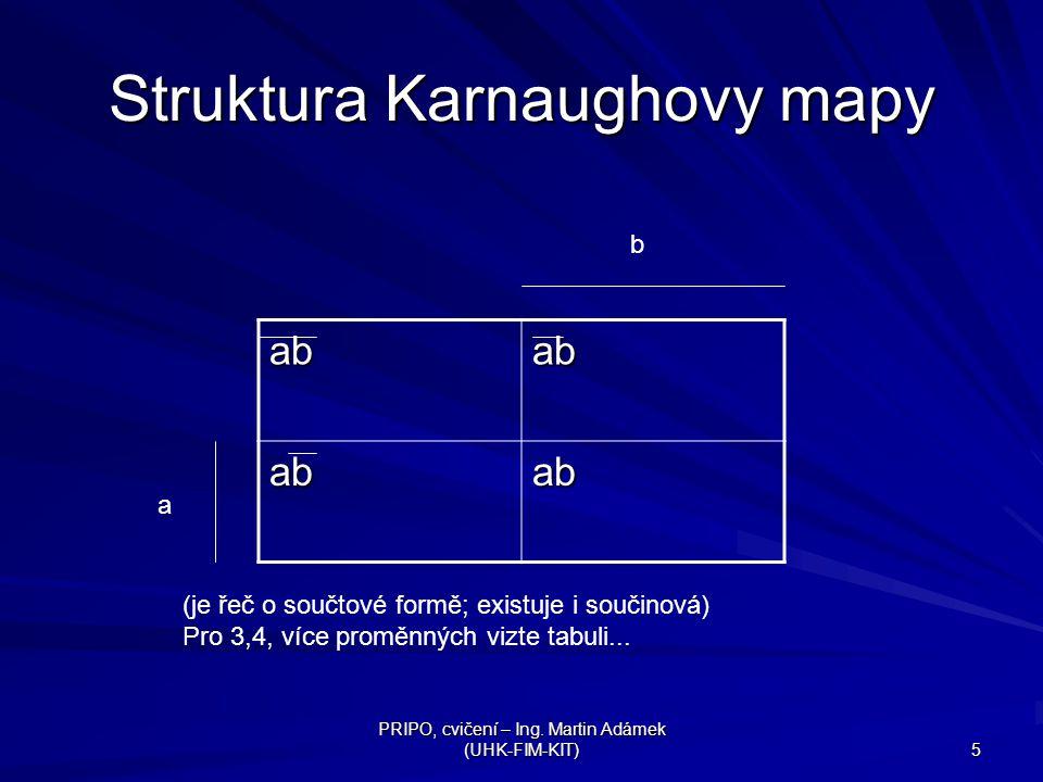 PRIPO, cvičení – Ing. Martin Adámek (UHK-FIM-KIT) 5 Struktura Karnaughovy mapy abab abab a b (je řeč o součtové formě; existuje i součinová) Pro 3,4,