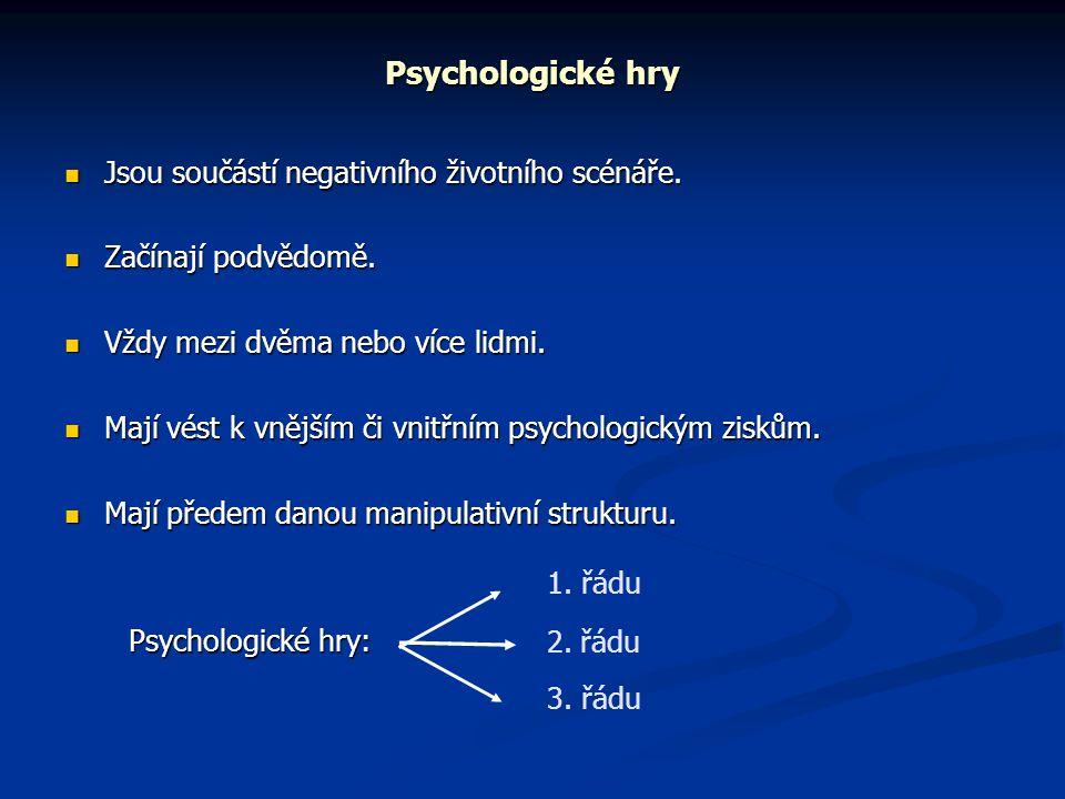 Psychologické hry  Jsou součástí negativního životního scénáře.  Začínají podvědomě.  Vždy mezi dvěma nebo více lidmi.  Mají vést k vnějším či vni