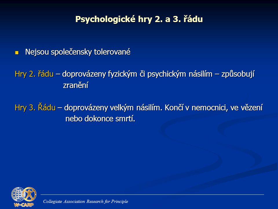 Psychologické hry 2. a 3. řádu  Nejsou společensky tolerované Hry 2. řádu – doprovázeny fyzickým či psychickým násilím – způsobují zranění zranění Hr