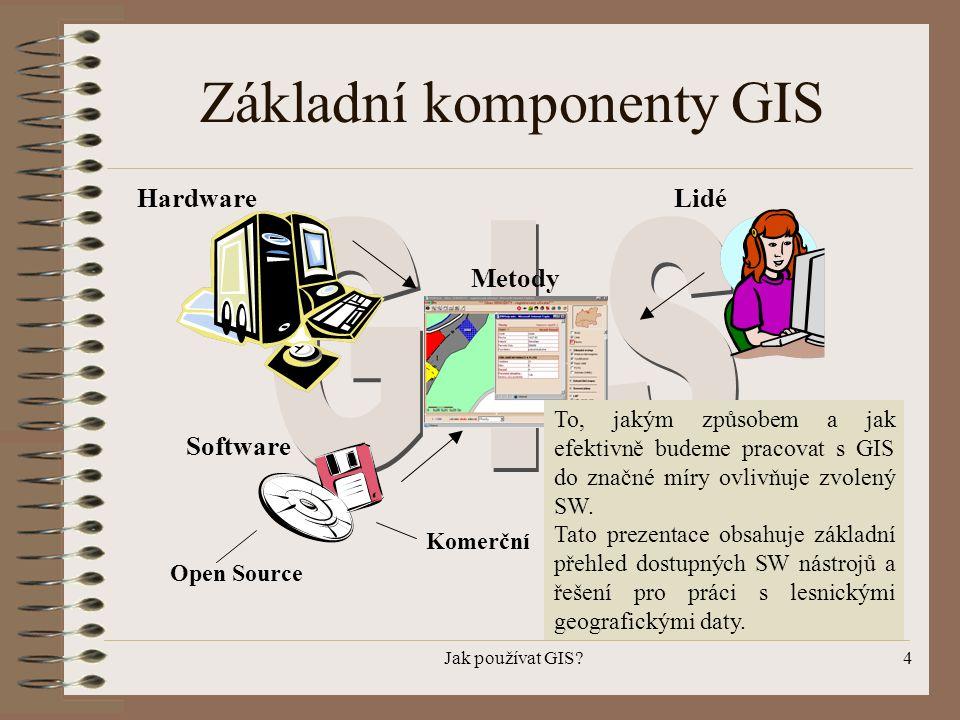 Jak používat GIS?4 Základní komponenty GIS Hardware Software Data Lidé Komerční Open Source Metody To, jakým způsobem a jak efektivně budeme pracovat