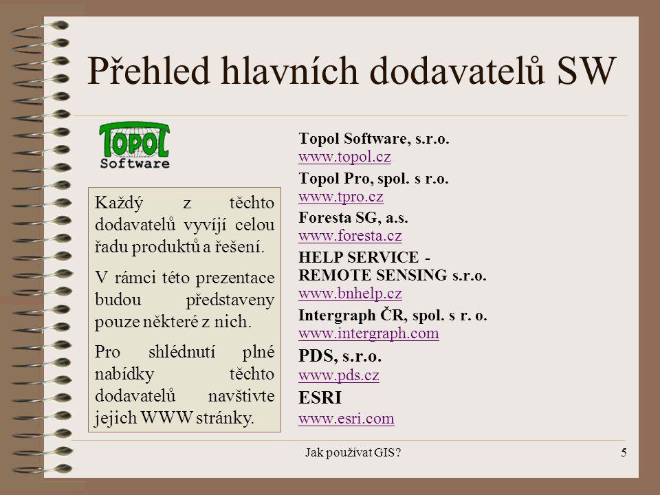 Jak používat GIS?5 Přehled hlavních dodavatelů SW Topol Software, s.r.o. www.topol.cz www.topol.cz Topol Pro, spol. s r.o. www.tpro.cz www.tpro.cz For