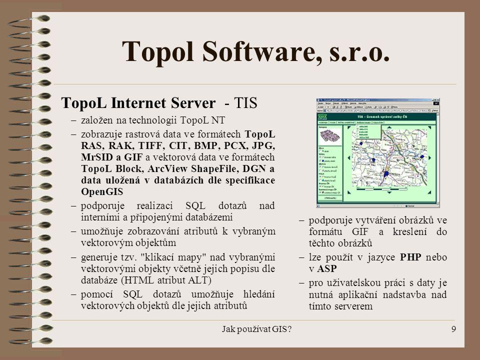 Jak používat GIS?9 Topol Software, s.r.o. TopoL Internet Server - TIS –založen na technologii TopoL NT –zobrazuje rastrová data ve formátech TopoL RAS