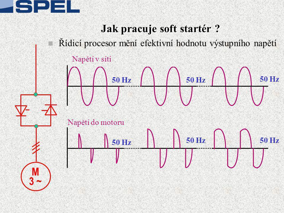 Jak pracuje soft startér ? n Řídicí procesor mění efektivní hodnotu výstupního napětí Napětí v síti Napětí do motoru 50 Hz M 3 ~