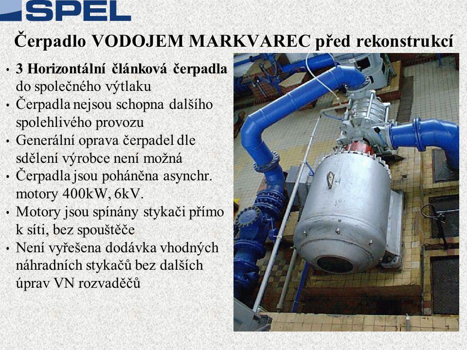Čerpadlo VODOJEM MARKVAREC před rekonstrukcí • 3 Horizontální článková čerpadla do společného výtlaku • Čerpadla nejsou schopna dalšího spolehlivého provozu • Generální oprava čerpadel dle sdělení výrobce není možná • Čerpadla jsou poháněna asynchr.