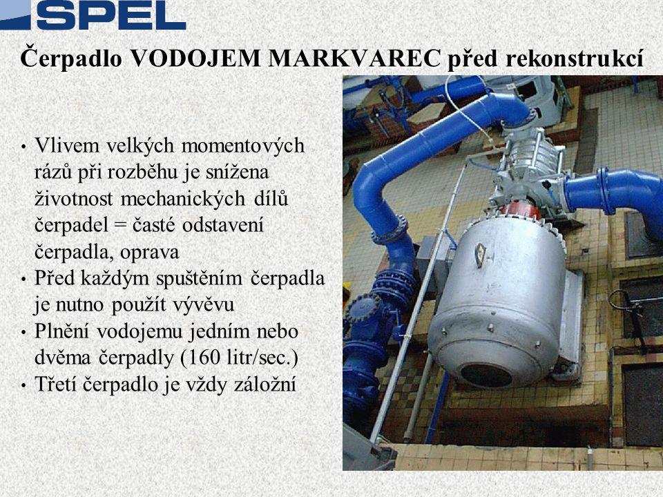 Čerpadlo VODOJEM MARKVAREC před rekonstrukcí • Vlivem velkých momentových rázů při rozběhu je snížena životnost mechanických dílů čerpadel = časté odstavení čerpadla, oprava • Před každým spuštěním čerpadla je nutno použít vývěvu • Plnění vodojemu jedním nebo dvěma čerpadly (160 litr/sec.) • Třetí čerpadlo je vždy záložní