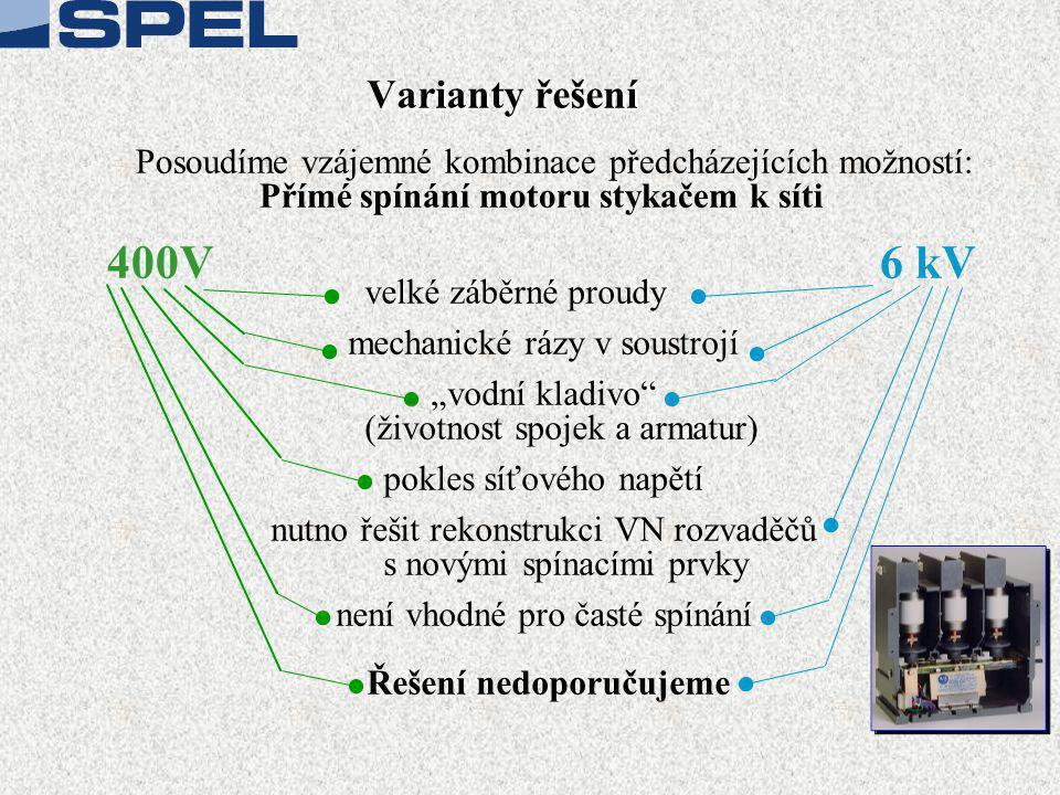 Varianty řešení Posoudíme vzájemné kombinace předcházejících možností: Přímé spínání motoru stykačem k síti 400V 6 kV velké záběrné proudy mechanické