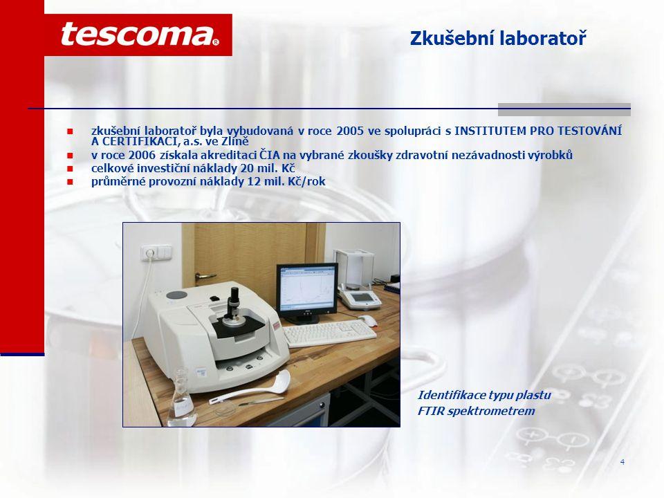 5 Zkušební laboratoř K vybavení laboratoře patří zejména:  spektrometrické analyzátory pro kontrolu vstupních surovin  FTIR spektrometr pro analýzu typu plastů  plynová chromatografie GCMS s teplotní desorpcí pro analýzu aditiv plastů  UV spektrometr pro kontrolu PAA v plastech  mikrovlnný rozklad plastů pro hodnocení těžkých kovů v plastech metodou AAS  XRF spektrometry pro analýzu kovových slitin  AAS pro kontrolu Pb a Cd keramických a skleněných výrobků Analýza kovů v simulantech potravin pomocí AAS