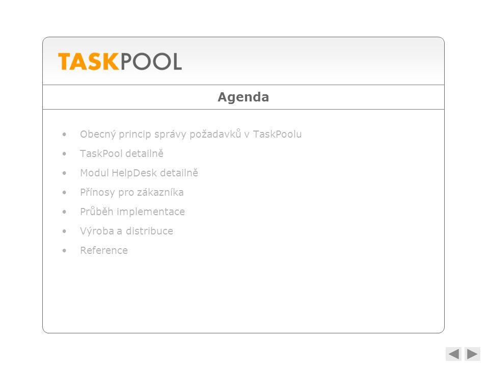 Agenda •Obecný princip správy požadavků v TaskPoolu •TaskPool detailně •Modul HelpDesk detailně •Přínosy pro zákazníka •Průběh implementace •Výroba a distribuce •Reference