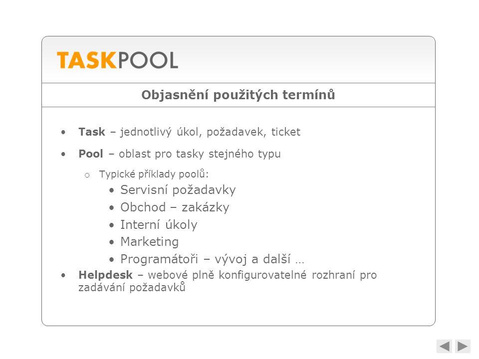 Objasnění použitých termínů •Task – jednotlivý úkol, požadavek, ticket •Pool – oblast pro tasky stejného typu o Typické příklady poolů: •Servisní požadavky •Obchod – zakázky •Interní úkoly •Marketing •Programátoři – vývoj a další … •Helpdesk – webové plně konfigurovatelné rozhraní pro zadávání požadavků