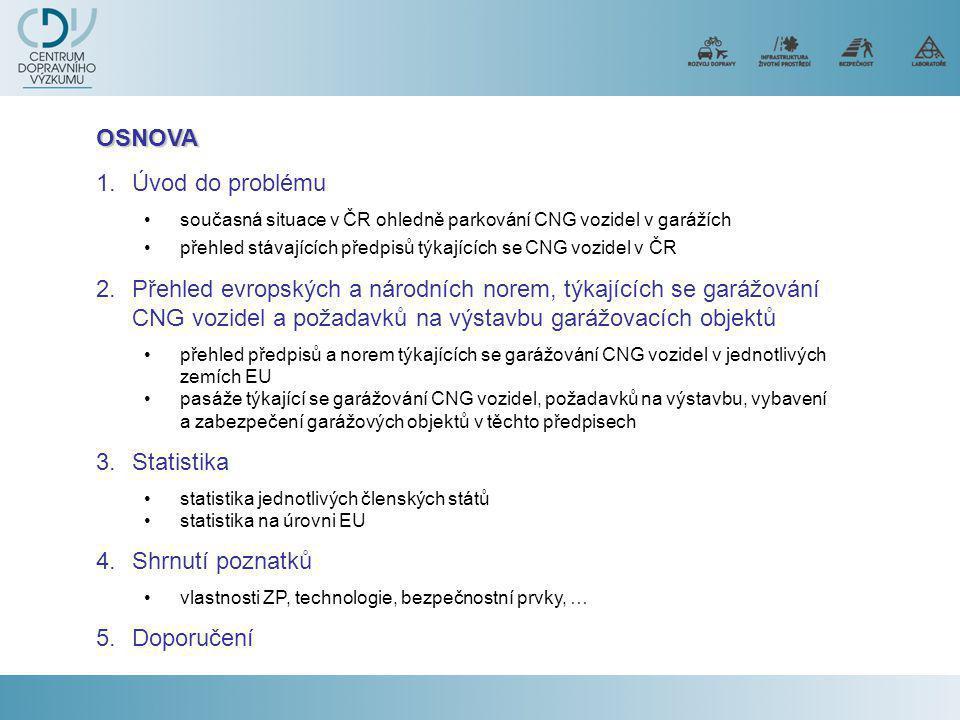 1.Úvod do problému •současná situace v ČR ohledně parkování CNG vozidel v garážích •přehled stávajících předpisů týkajících se CNG vozidel v ČR 2.Přehled evropských a národních norem, týkajících se garážování CNG vozidel a požadavků na výstavbu garážovacích objektů •přehled předpisů a norem týkajících se garážování CNG vozidel v jednotlivých zemích EU •pasáže týkající se garážování CNG vozidel, požadavků na výstavbu, vybavení a zabezpečení garážových objektů v těchto předpisech 3.Statistika •statistika jednotlivých členských států •statistika na úrovni EU 4.Shrnutí poznatků •vlastnosti ZP, technologie, bezpečnostní prvky, … 5.Doporučení OSNOVA