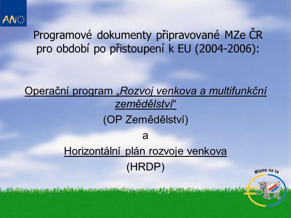 Priority a opatření programových dokumentů: OP Zemědělství •Rozvoj zemědělství, lesního a vodního hospodářství a venkova •Technická pomoc 1) Investice do zemědělského majetku / zemědělských podniků 2) Zlepšení zpracování zemědělských výrobků a jejich marketing 3) Lesní hospodářství 4) Posílení přizpůsobivosti a rozvoje venkovských oblastí 5) Odborné vzdělávání 6) Chov ryb a činnosti prováděné odborníky v rybářství 7) Technická pomoc
