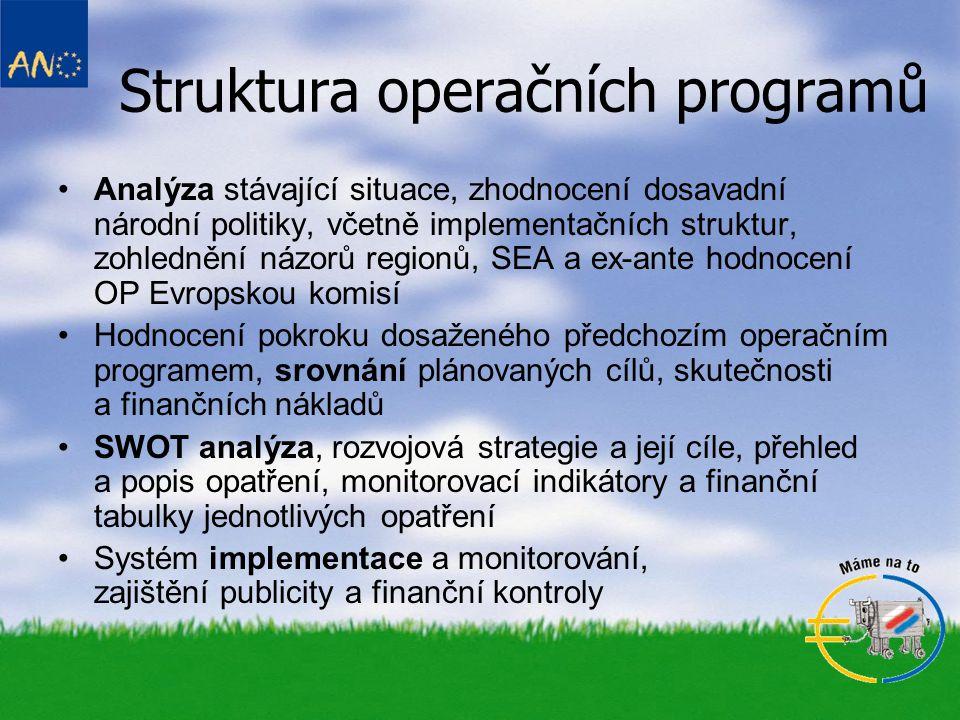Struktura operačních programů •Analýza stávající situace, zhodnocení dosavadní národní politiky, včetně implementačních struktur, zohlednění názorů re