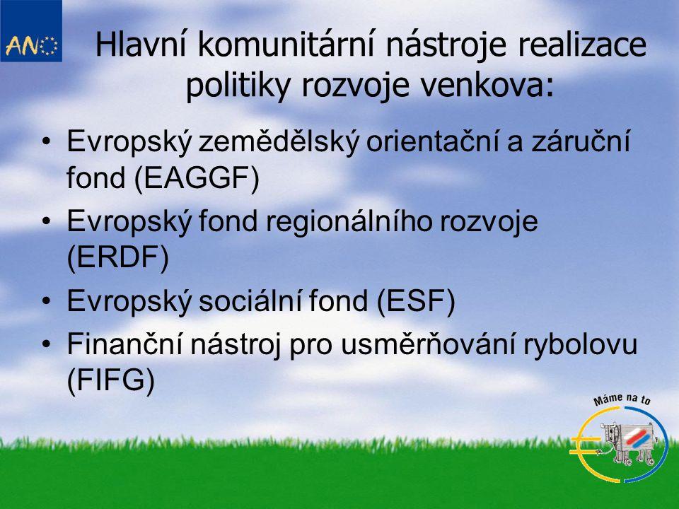 Hlavní komunitární nástroje realizace politiky rozvoje venkova: •Evropský zemědělský orientační a záruční fond (EAGGF) •Evropský fond regionálního roz