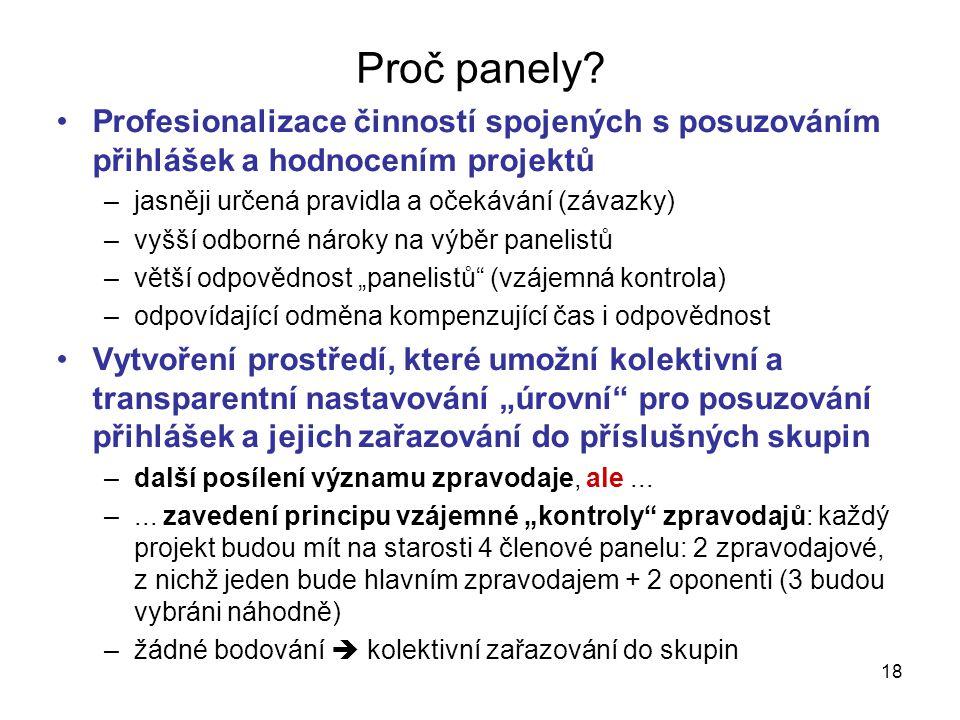 18 Proč panely? •Profesionalizace činností spojených s posuzováním přihlášek a hodnocením projektů –jasněji určená pravidla a očekávání (závazky) –vyš