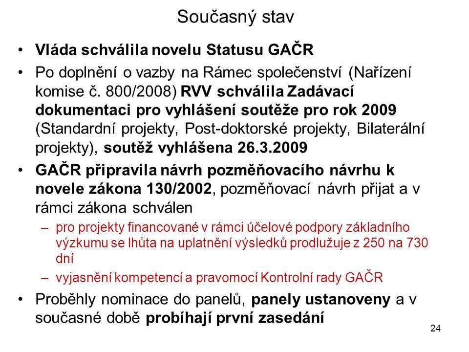 24 Současný stav •Vláda schválila novelu Statusu GAČR •Po doplnění o vazby na Rámec společenství (Nařízení komise č. 800/2008) RVV schválila Zadávací