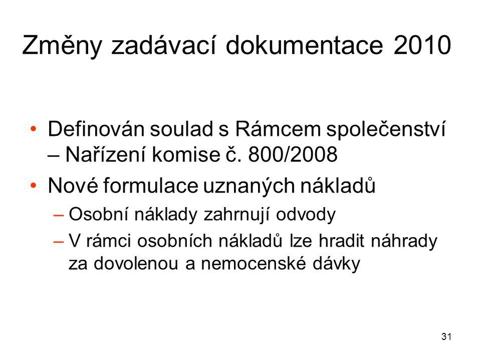 31 Změny zadávací dokumentace 2010 •Definován soulad s Rámcem společenství – Nařízení komise č.