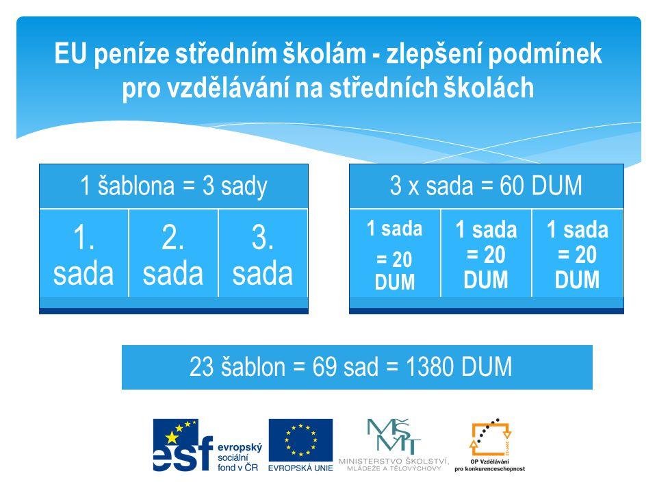 EU peníze středním školám - zlepšení podmínek pro vzdělávání na středních školách 1 šablona = 3 sady 1. sada 2. sada 3. sada 3 x sada = 60 DUM 1 sada