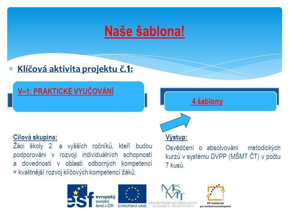  Klíčová aktivita projektu č. 1 : Naše šablona! 4 šablony Cílová skupina: Žáci školy 2. a vyšších ročníků, kteří budou podporováni v rozvoji individu