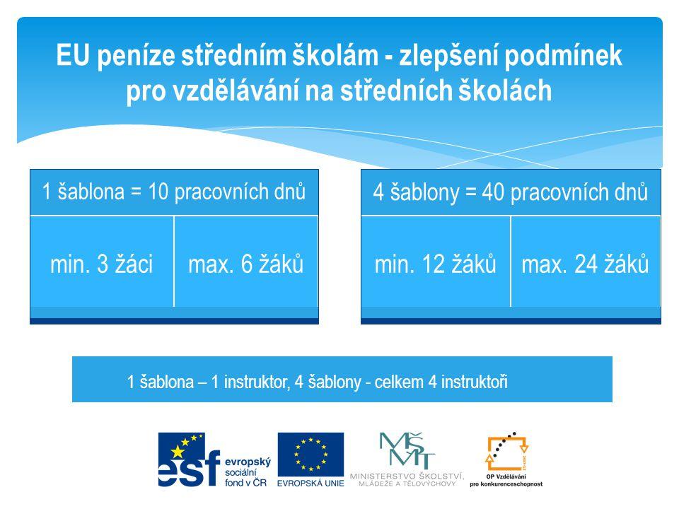 EU peníze středním školám - zlepšení podmínek pro vzdělávání na středních školách 1 šablona = 10 pracovních dnů min. 3 žácimax. 6 žáků 4 šablony = 40