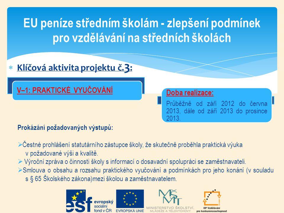  Klíčová aktivita projektu č. 3 :  EU peníze středním školám - zlepšení podmínek pro vzdělávání na středních školách Doba realizace: Průběžně od zář