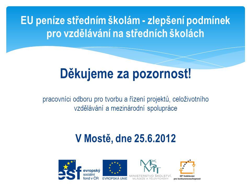 Děkujeme za pozornost! pracovníci odboru pro tvorbu a řízení projektů, celoživotního vzdělávání a mezinárodní spolupráce V Mostě, dne 25.6.2012 EU pen