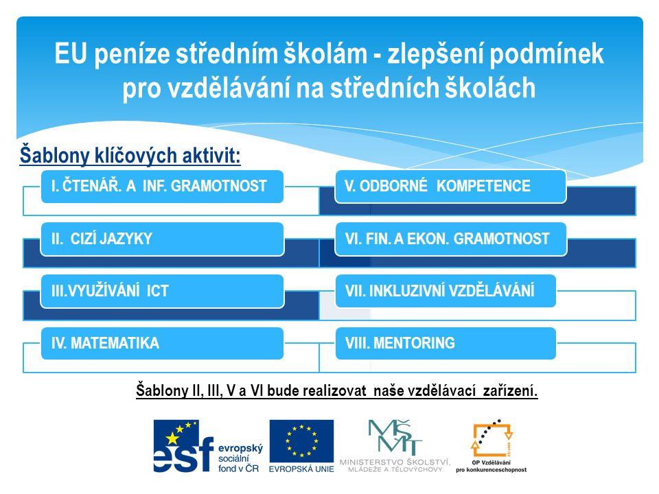 Šablony klíčových aktivit: EU peníze středním školám - zlepšení podmínek pro vzdělávání na středních školách I. ČTENÁŘ. A INF. GRAMOTNOSTII. CIZÍ JAZY