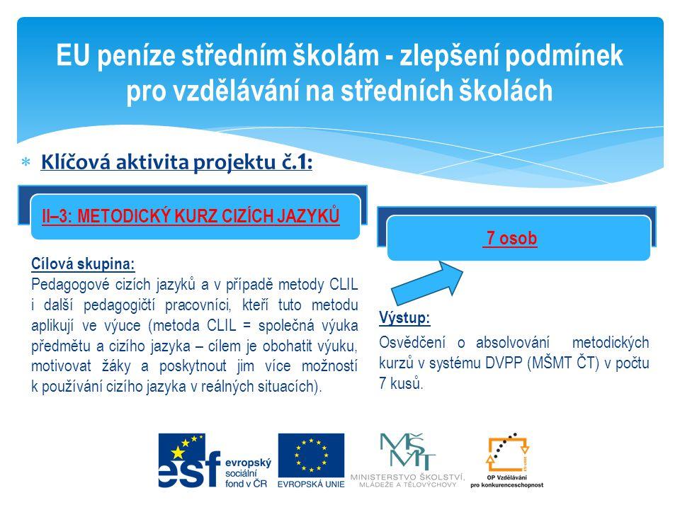  Klíčová aktivita projektu č. 1 : EU peníze středním školám - zlepšení podmínek pro vzdělávání na středních školách 7 osob Cílová skupina: Pedagogové