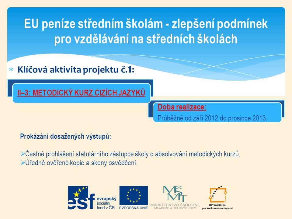  Klíčová aktivita projektu č. 1 : EU peníze středním školám - zlepšení podmínek pro vzdělávání na středních školách Doba realizace: Průběžně od září