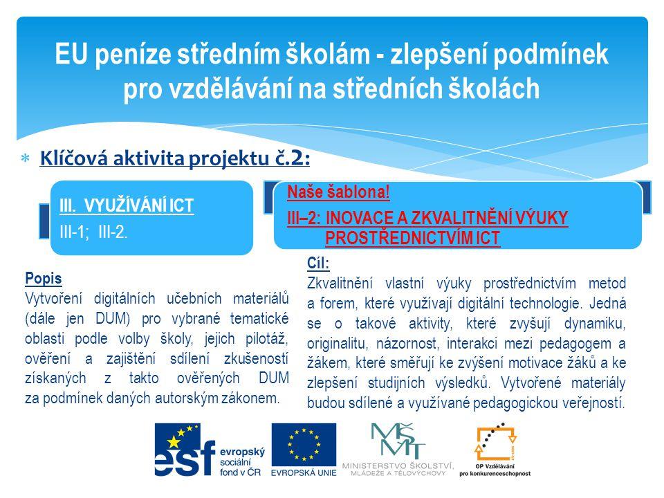 Klíčová aktivita projektu č. 2 : EU peníze středním školám - zlepšení podmínek pro vzdělávání na středních školách III. VYUŽÍVÁNÍ ICT III-1; III-2.