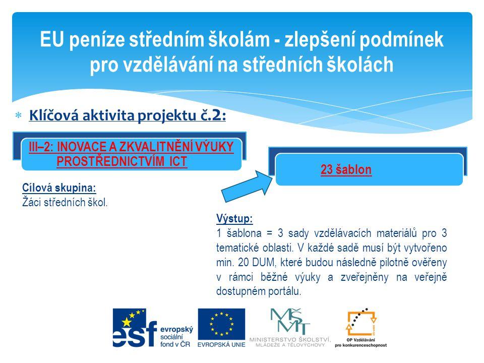  Klíčová aktivita projektu č. 2 : EU peníze středním školám - zlepšení podmínek pro vzdělávání na středních školách 23 šablon Cílová skupina: Žáci st