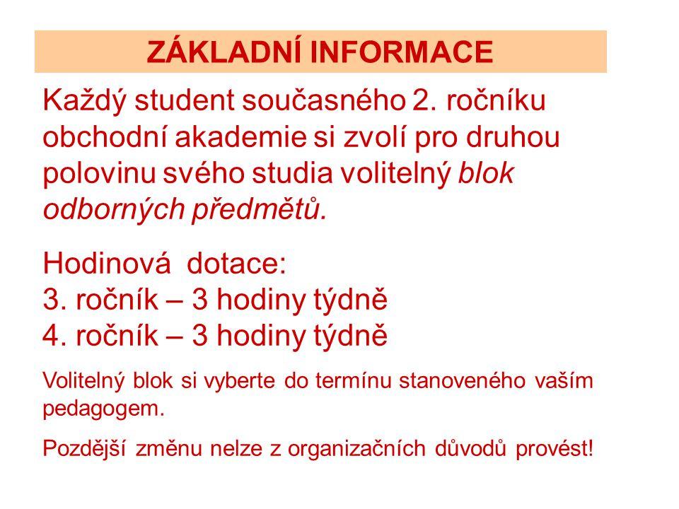 Volitelné bloky odborných předmětů VOLITELNÝ BLOK 1 (IEP) 3.