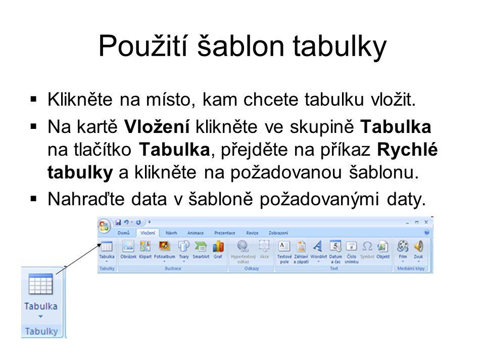 Použití nabídky Tabulka Klikneme na místo, kam chceme tabulku vložit.