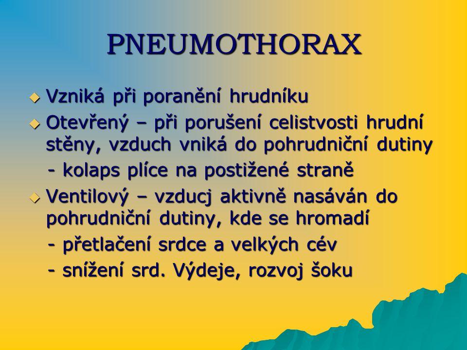PNEUMOTHORAX  Vzniká při poranění hrudníku  Otevřený – při porušení celistvosti hrudní stěny, vzduch vniká do pohrudniční dutiny - kolaps plíce na p