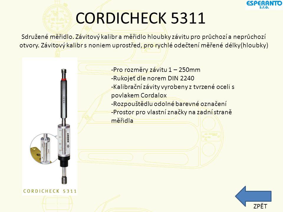 CORDICHECK 5310 Čtení naměřených hodnot z číselníku nebo digitálního displeje.