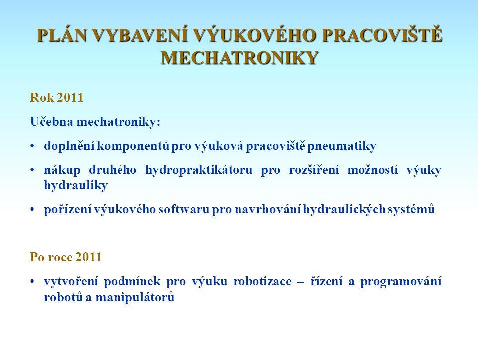 Rok 2011 Učebna mechatroniky: • doplnění komponentů pro výuková pracoviště pneumatiky • nákup druhého hydropraktikátoru pro rozšíření možností výuky h