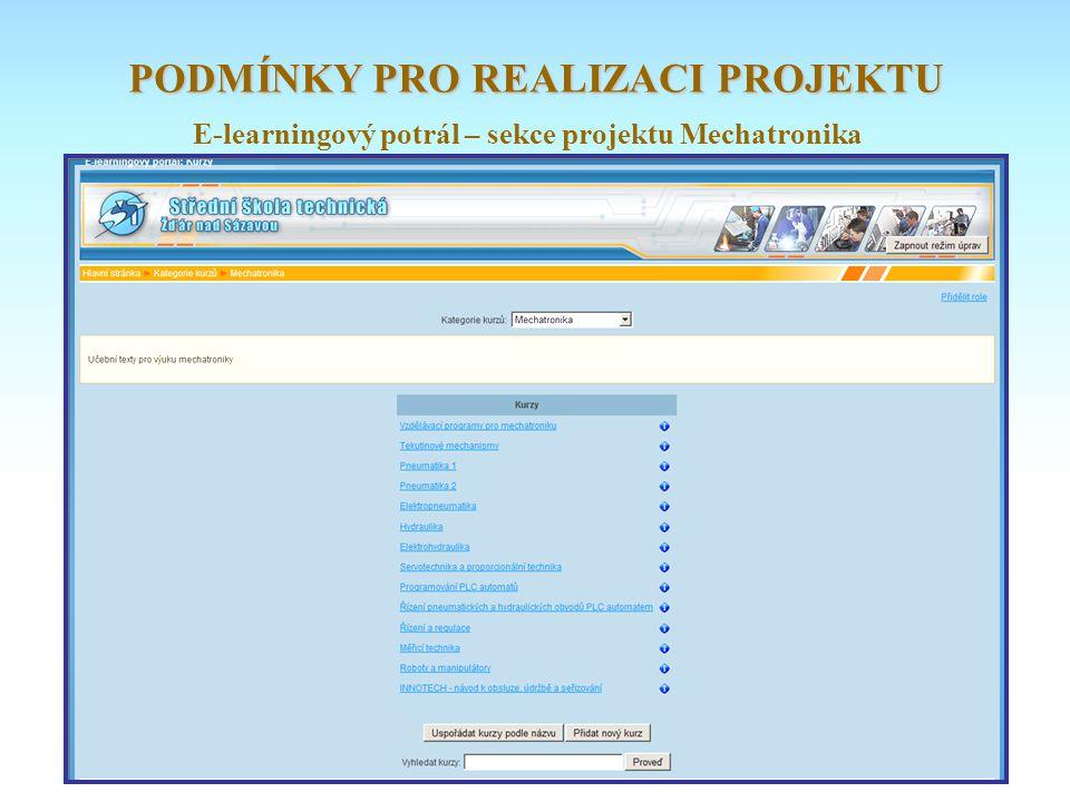 E-learningový potrál – sekce projektu Mechatronika PODMÍNKY PRO REALIZACI PROJEKTU