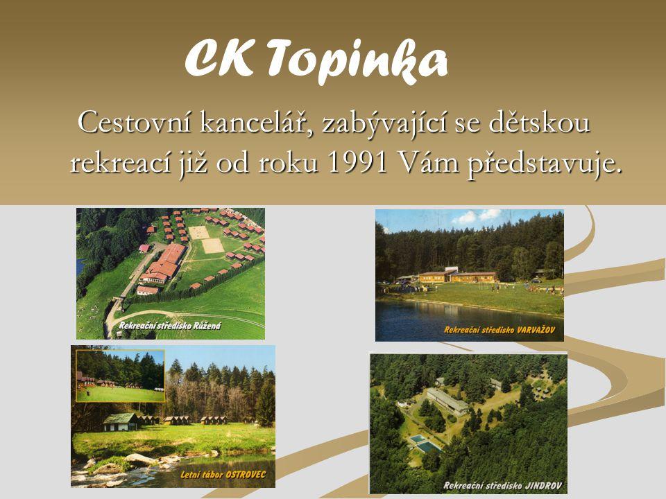 Cestovní kancelář, zabývající se dětskou rekreací již od roku 1991 Vám představuje. CK Topinka