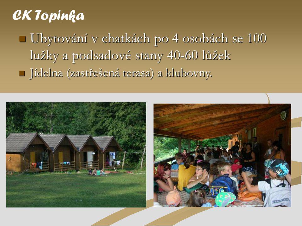  Ubytování v chatkách po 4 osobách se 100 lužky a podsadové stany 40-60 lůžek CK Topinka  Jídelna (zastřešená terasa) a klubovny.