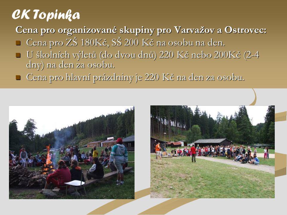 Cena pro organizované skupiny pro Varvažov a Ostrovec:  Cena pro ZŠ 180Kč, SŠ 200 Kč na osobu na den.  U školních výletů (do dvou dnů) 220 Kč nebo 2