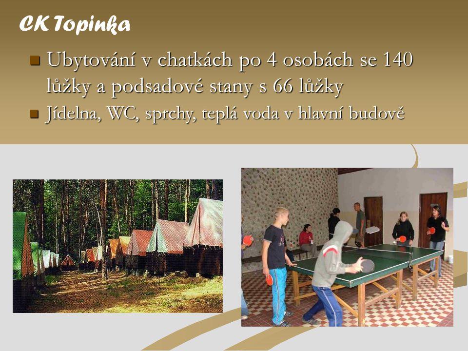  Ubytování v chatkách po 4 osobách se 140 lůžky a podsadové stany s 66 lůžky CK Topinka  Jídelna, WC, sprchy, teplá voda v hlavní budově