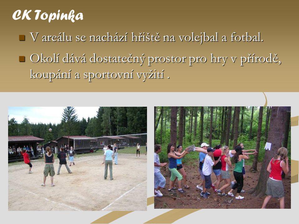 V areálu se nachází hřiště na volejbal a fotbal. CK Topinka  Okolí dává dostatečný prostor pro hry v přírodě, koupání a sportovní vyžití.