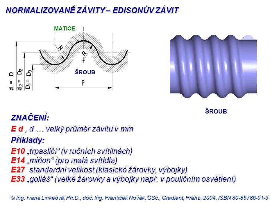 © Ing. Ivana Linkeová, Ph.D., doc. Ing. František Novák, CSc., Gradient, Praha, 2004, ISBN 80-86786-01-3 NORMALIZOVANÉ ZÁVITY – EDISONŮV ZÁVIT ZNAČENÍ
