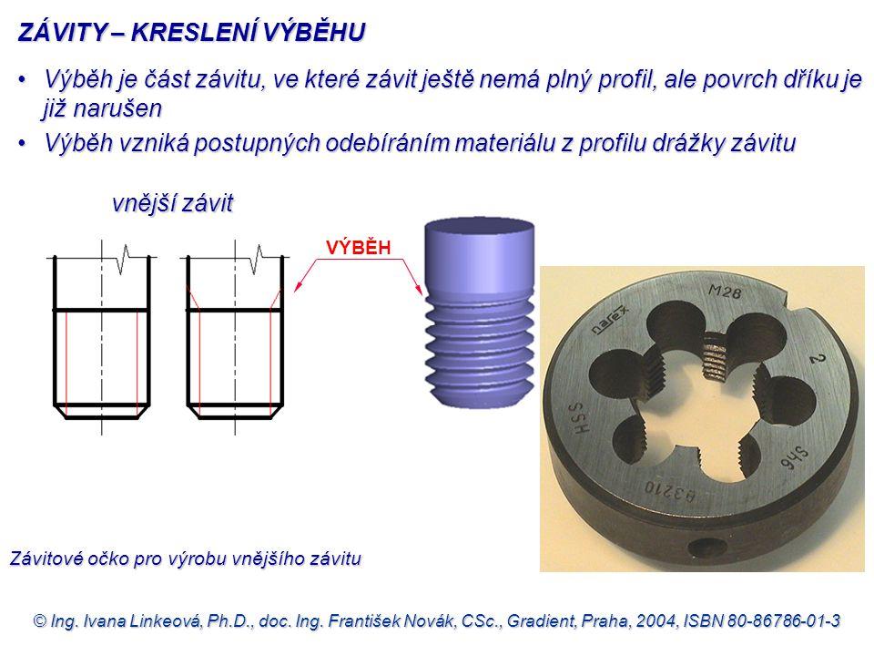 © Ing. Ivana Linkeová, Ph.D., doc. Ing. František Novák, CSc., Gradient, Praha, 2004, ISBN 80-86786-01-3 VÝBĚH vnější závit ZÁVITY – KRESLENÍ VÝBĚHU Z